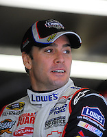 Oct. 15, 2009; Concord, NC, USA; NASCAR Sprint Cup Series driver Jimmie Johnson during practice for the Banking 500 at Lowes Motor Speedway. Mandatory Credit: Mark J. Rebilas-