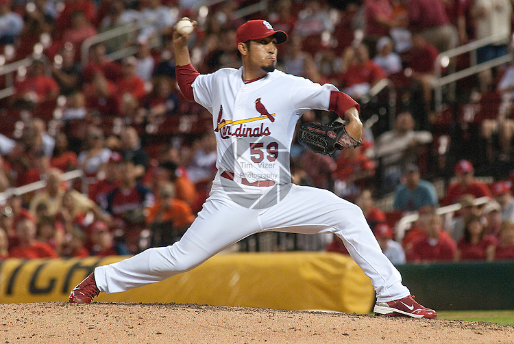 31 May 2011            St. Louis Cardinals relief pitcher Fernando Salas (59) throws in the final inning of the game. The St. Louis Cardinals defeated the San Francisco Giants 4-3 on Tuesday May 31, 2011 in the second game of a four-game series at Busch Stadium in downtown St. Louis.