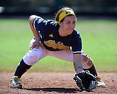 Michigan Wolverines Softball infielder Abby Ramirez (1) in the field during a game against the Bethune-Cookman on February 9, 2014 at the USF Softball Stadium in Tampa, Florida.  Michigan defeated Bethune-Cookman 12-1.  (Copyright Mike Janes Photography)