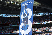 19th May 2018, Wembley Stadium, London, England; FA Cup Final football, Chelsea versus Manchester United; Giant Chelsea banner in tribute to Ray Wilkins