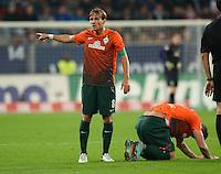 FUSSBALL   1. BUNDESLIGA  SAISON 2012/2013   7. Spieltag FC Augsburg - Werder Bremen          05.10.2012 Clemens Fritz und Marko Arnautovic  (v. li., SV Werder Bremen)
