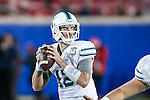 Tulane Green Wave quarterback Tanner Lee (12) in action during the game between the Tulane Green Wave and the SMU Mustangs at the Gerald J. Ford Stadium in Dallas, Texas.