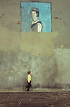 Belfast Northern Ireland mural painting of Queen Elizabeth 11 Ireland UK Circa 1975