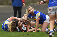 Picture by Anna Gowthorpe/SWpix.com - 15/04/2018 - Rugby League - Womens Super League - Bradford Bulls v Leeds Rhinos - Coral Windows Stadium, Bradford, England - Players look to the referee for a decision