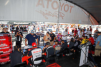 Sept. 21, 2013; Ennis, TX, USA: NHRA fans line up for and autograph and to meet their favorite drivers at the Toyota display during the Fall Nationals at the Texas Motorplex. Mandatory Credit: Mark J. Rebilas-