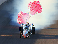 Feb 27, 2016; Chandler, AZ, USA; NHRA jet dragster driver XXXX during qualifying for the Carquest Nationals at Wild Horse Pass Motorsports Park. Mandatory Credit: Mark J. Rebilas-