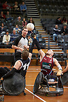 QLD's Chris Bond and Victoria's Andrew Harrison face off for the opening tip off of the Gold Medal Match in the 2013 National Wheelchair Rugby Championship <br />