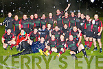 The Killarney team celebrate after defeating Corca Dhuibhne in the McElligott Cup final in Castleisland on Saturday night