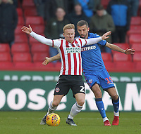 Bolton Wanderers Gary O'Neil battles with  Sheffield United's Mark Duffy<br /> <br /> Photographer Mick Walker/CameraSport<br /> <br /> The EFL Sky Bet Championship - Sheffield United v Bolton Wanderers - Saturday 2nd February 2019 - Bramall Lane - Sheffield<br /> <br /> World Copyright © 2019 CameraSport. All rights reserved. 43 Linden Ave. Countesthorpe. Leicester. England. LE8 5PG - Tel: +44 (0) 116 277 4147 - admin@camerasport.com - www.camerasport.com