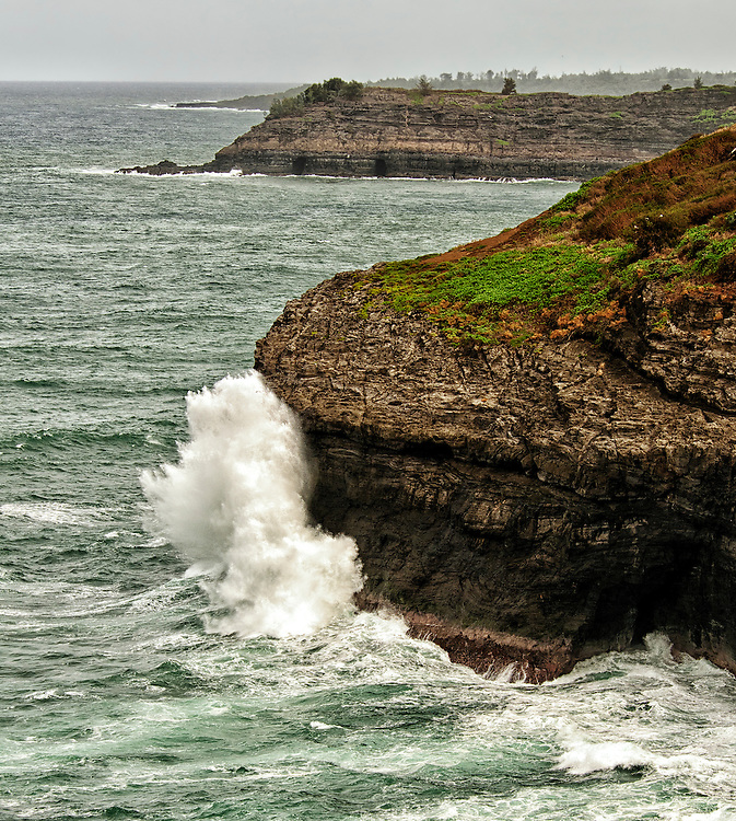 The rugged north coast of Kauai, Hawaii, as seen from the Kilauea Point National Wildlife Refuge