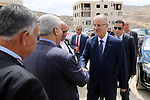 Palestinian Prime Minister Rami Hamdallah attends a ceremony of laying the foundation stone of the al-Zaytoun suburb, in the West Bank city of Nablus on June 30, 2018. Photo by Prime Minister Office