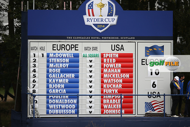 Scoreboard after one hole completed during Sunday's Singles at the 2014 Ryder Cup from Gleneagles, Perthshire, Scotland. Picture:  David Lloyd / www.golffile.ie