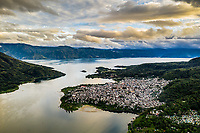 Aerial of Santiago Atitlan, Guatemala - the largest of towns surrounding Lake Atitlan in the west of the Central American country.
