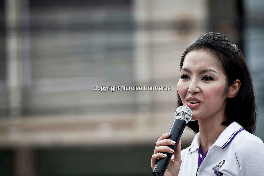 "YOLLANDA ""NOK"" SUANYOT gives a speech to voters in downtown streets as she stands for elections in northern Nan province, Thailand. Known formerly as a beauty queen, is running today a political campaign for the local rule of Nan city. 30-year-old Yollada Suanyot, who was born a male, has become the first transgender to register as an election candidate. The upcoming elections will be held on May 27th in 24 constituencies in 15 districts. In accord with the Thai media this is the first time in Thailand that a transgender is taking part in a provincial election."