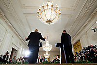 U.S. President Donald Trump, left, speaks as Stefan Lofven, Sweden's prime minister, listens during a news conference in the East Room of the White House in Washington, D.C., U.S., on Tuesday, March 6, 2018. Trump and Lofven are looking to focus on trade and investment between the two countries and ways to achieve shared defense goals. <br /> CAP/MPI/RS<br /> &copy;RS/MPI/Capital Pictures