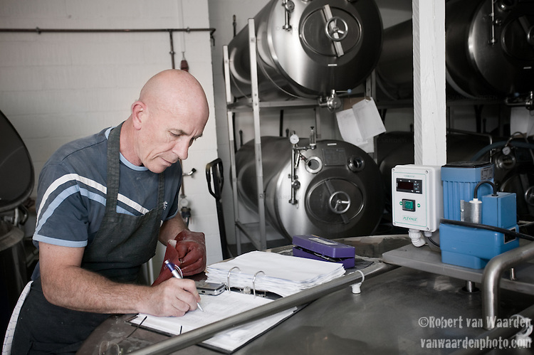 In a process that involves lots of time specifics and sanitation requirments, detailed note taking is a necessity. Tommy is the brewmaster of this small brewery in Raervig, Denmark. It is a new brewery on the competitive scene of micro brewers in Europe.