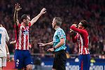 Atletico de Madrid Diego Godin talking with the referee during La Liga match between Atletico de Madrid and Real Madrid at Wanda Metropolitano in Madrid, Spain. November 18, 2017. (ALTERPHOTOS/Borja B.Hojas)