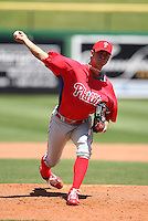 March 30, 2010:  Pitcher Jarrad Cosart of the Philadelphia Phillies organization during Spring Training at Bright House Field in Clearwater, FL.  Photo By Mike Janes/Four Seam Images