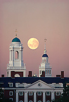 Eliot & Lowell towers, Harvard University, Cambridge, MA moon