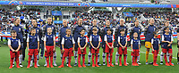 20190608 - REIMS , FRANCE : Norwegian team with Ingrid Hjelmseth (1)   Ingrid Moe Wold (2)   Maria Thorisdottir (3)   Maren Mjelde (6)   Volde Boe Risa (8)   Isabell Herlovsen (9)   Caroline Graham Hansen (10)   Lisa Marie Utland (11)   Ingrid Syrstar Engen (14)   Guro Reiten (16)   Kristine Minde (17)  pictured during the female soccer game between Norway – the Grashoppene - and Nigeria – The Super Falcons - , the first game for both teams in group A during the FIFA Women's  World Championship in France 2019, Saturday 8 th June 2019 at the Auguste Delaune Stadium in Reims , France .  PHOTO SPORTPIX.BE | DIRK VUYLSTEKE