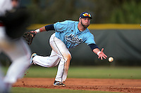 Maine Black Bears first baseman Scott Heath (29) during a game against the Ball State Cardinals on March 3, 2015 at North Charlotte Regional Park in Port Charlotte, Florida.  Ball State defeated Maine 8-7.  (Mike Janes/Four Seam Images)