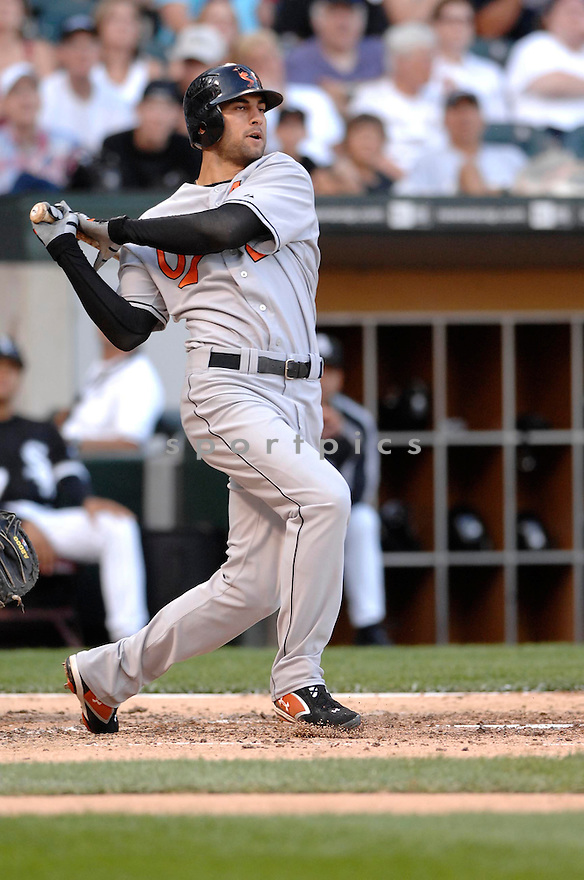 NICK MARKAKIS, of the  Baltimore Orioles, in action during the Orioles game against the Chicago White Sox  in Chicago, IL, on July 4,  2007...Orioles win 9-6...DAVID DUROCHIK / SPORTPICS.