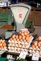 Farmer's market selling eggs with a scale in Poland. Rawa Mazowiecka Central Poland