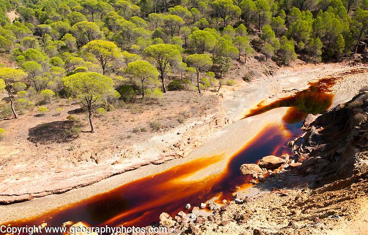 Red iron rich water Rio Tinto river valley, Minas de Riotinto, Huelva, Spain