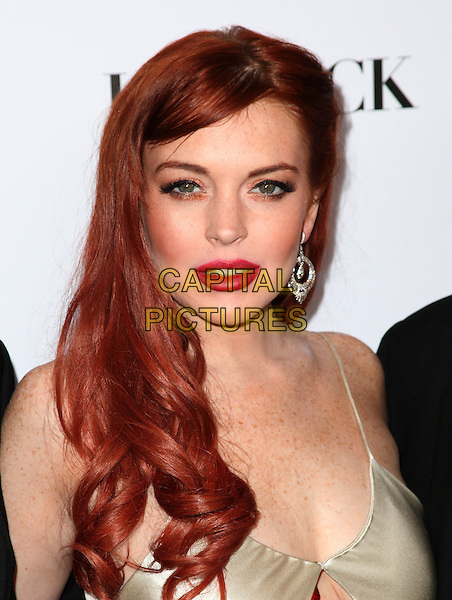 "Lindsay Lohan.Lifetime presents ""Liz & Dick"" - Los Angeles Premiere Held At Beverly Hills Hotel, Beverly Hills, California, USA..November 20th, 2012.headshot portrait dyed red hair lipstick dangling silk satin white cream diamond earrings.CAP/ADM/KB.©Kevan Brooks/AdMedia/Capital Pictures."