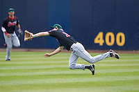 Great Lakes Loons outfielder Jeremy Rathjen #13 attempts to make a diving catch during a game against the Quad Cities River Bandits at Modern Woodmen Park on April 29, 2013 in Davenport, Iowa. (Brace Hemmelgarn/Four Seam Images)