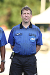 09 September 2014: Referee Andrew Chapin. The Duke University Blue Devils hosted the Temple University Owls at Koskinen Stadium in Durham, North Carolina in a 2014 NCAA Division I Men's Soccer match. Duke won the game 3-1.
