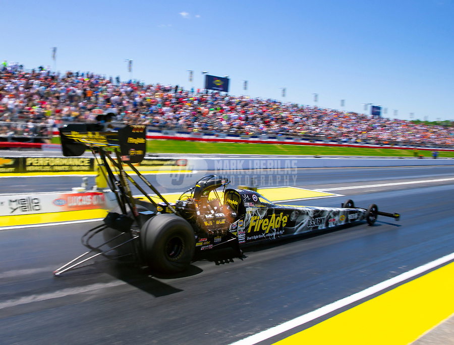 May 6, 2018; Commerce, GA, USA; NHRA top fuel driver Leah Pritchett during the Southern Nationals at Atlanta Dragway. Mandatory Credit: Mark J. Rebilas-USA TODAY Sports