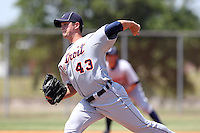 Detroit Tigers minor league player Andy Oliver #43 during a spring training game against the Washington Nationals at the Spacecoast Stadium Training Complex on March 27, 2011 in Melbourne, Florida.  Photo By Mike Janes/Four Seam Images