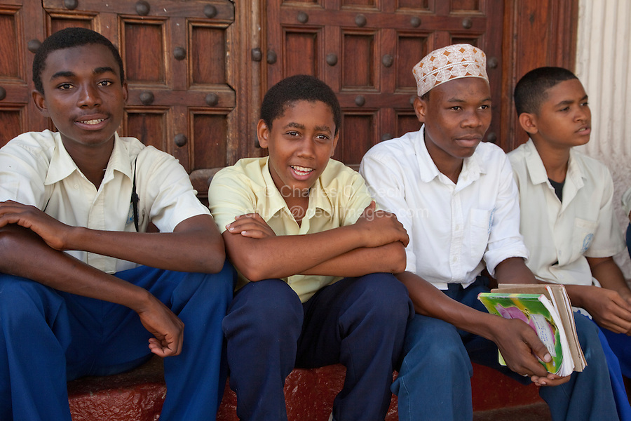Zanzibar, Tanzania.  Secondary School Teenage Boys in Stone Town.