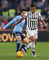 Calcio, Serie A: Lazio vs Juventus. Roma, stadio Olimpico, 4 dicembre 2015.<br /> Juventus&rsquo; Alex Sandro, right, is chased by Lazio&rsquo;s Felipe Anderson during the Italian Serie A football match between Lazio and Juventus at Rome's Olympic stadium, 4 December 2015.<br /> UPDATE IMAGES PRESS/Riccardo De Luca