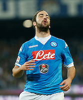 Gonzalo Higuain reacts during the  italian serie a soccer match,between SSC Napoli and Udinese      at  the San  Paolo   stadium in Naples  Italy , November 08, 2015