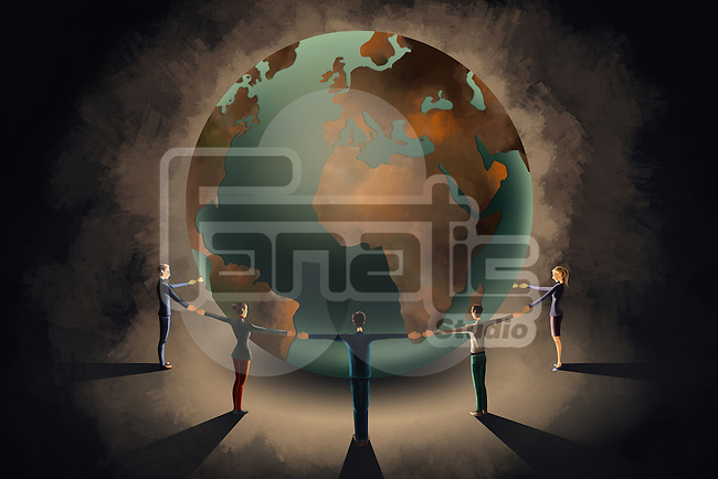 Illustrative image of business people holding hands while circling the globe representing teamwork