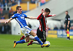Lee Evans of Sheffield Utd tacked by Maikel Kieftenbeld of Birmingham City during the championship match at St Andrews Stadium, Birmingham. Picture date 21st April 2018. Picture credit should read: Simon Bellis/Sportimage
