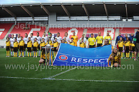 The French and England teams line up behind the trophy they both hope to win during the singing of the National anthems during the UEFA Womens U19 Final at Parc y Scarlets Saturday 31st August 2013. All images are the copyright of Jeff Thomas Photography-www.jaypics.photoshelter.com-07837 386244-Any use of images must be authorised by the copyright owner.