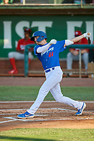 Jon Littell (48) of the Ogden Raptors at bat against the Orem Owlz at Lindquist Field on July 27, 2019 in Ogden, Utah. The Raptors defeated the Owlz 14-1. (Stephen Smith/Four Seam Images)