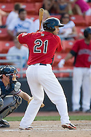 Michael Ortiz #21 of the Hickory Crawdads at bat against the Rome Braves at  L.P. Frans Stadium May 23, 2010, in Hickory, North Carolina.  The Rome Braves defeated the Hickory Crawdads 5-1.  Photo by Brian Westerholt / Four Seam Images