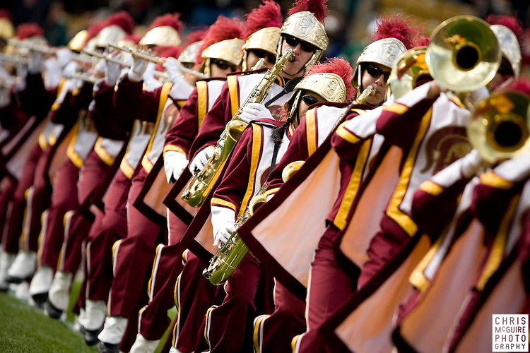 10/17/09 - South Bend, IN:  The USC Trojan Marching Band performs during pregame at Notre Dame Stadium on Saturday.  USC won the game 34-27 to extend its win streak over Notre Dame to 8 games.  Photo by Christopher McGuire.