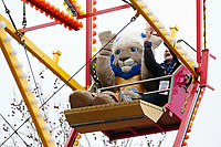 Bath Rugby mascot Maximus enjoying the Ferris Wheel. The Clash, Aviva Premiership match, between Bath Rugby and Leicester Tigers on April 7, 2018 at Twickenham Stadium in London, England. Photo by: Matt Impey / Wired Photos for Onside Images