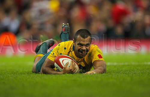 11th November 2017, Principality Stadium, Cardiff, Wales; Autumn International Series, Wales versus Australia; Kurtley Beale of Australia smiles after scoring his sides fourth try