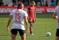 Portland, Oregon - Sunday October 2, 2016: Portland Thorns FC midfielder Tobin Heath (17) prepares to take a free kick during a semi final match of the National Women's Soccer League (NWSL) at Providence Park.