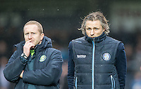 Wycombe Wanderers Manager Gareth Ainsworth & Wycombe Wanderers Assistant Manager Richard Dobson during the Sky Bet League 2 match between Wycombe Wanderers and Crawley Town at Adams Park, High Wycombe, England on 25 February 2017. Photo by Andy Rowland / PRiME Media Images.