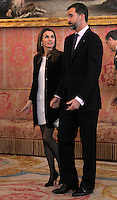 Spain's Princess Letizia and crown Prince Felipe during audiences. February 13, 2013. (ALTERPHOTOS/Alvaro Hernandez) /NortePhoto