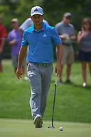 Xander Schauffele (USA) barely misses his putt on 17 during 2nd round of the World Golf Championships - Bridgestone Invitational, at the Firestone Country Club, Akron, Ohio. 8/3/2018.<br /> Picture: Golffile | Ken Murray<br /> <br /> <br /> All photo usage must carry mandatory copyright credit (© Golffile | Ken Murray)