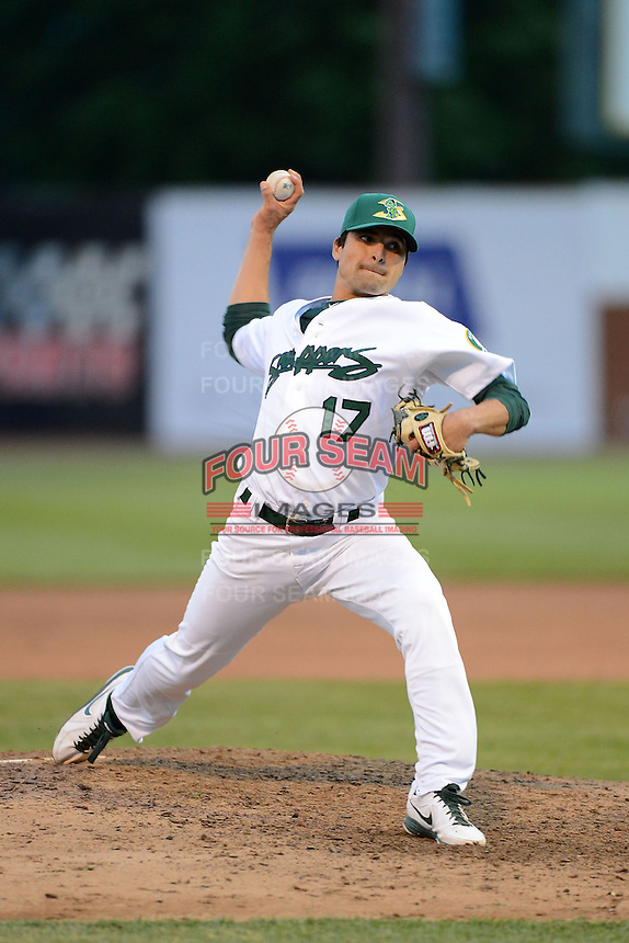 Beloit Snappers pitcher Andres Avila #17 during a game against the Cedar Rapids Kernels on May 22, 2013 at Pohlman Field in Beloit, Wisconsin.  Beloit defeated Cedar Rapids 7-6.  (Mike Janes/Four Seam Images)