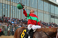 HOT SPRINGS, AR - MARCH 18: Jockey Javier Castellano celebrates aboard Untrapped #6 after winning the Rebel Stakes race at Oaklawn Park on March 18, 2017 in Hot Springs, Arkansas. (Photo by Justin Manning/Eclipse Sportswire/Getty Images)